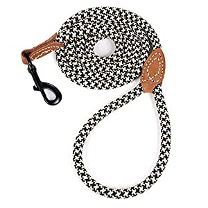 Mile High Life | Mountain Climbing Dog Rope Leash with Heavy Duty Metal Sturdy Clasp | Genuine Leather Tailored Connection with Strong Stitches (4/5/6 FEET)