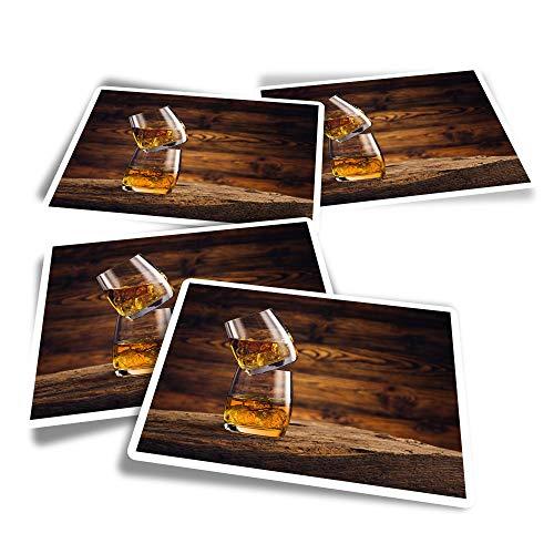 Pegatinas rectangulares de vinilo (juego de 4) – Vasos de whisky, bebidas, whisky, alcohol, calcomanías divertidas para portátiles, tabletas, equipaje, reserva de chatarra, frigoríficos #16204