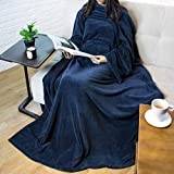 Premium Fleece Blanket with Sleeves for Adult, Women, Men   Warm, Cozy, Extra Soft, Microplush, Functional, Lightweight Wearable Throw (Navy, Kangaroo Pocket)