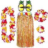 Juego de 6 faldas hawaianas con guirnaldas Lei y gafas de piña a elegir entre paja o varias faldas, para verano, playa, tropical, disfraz de fiesta