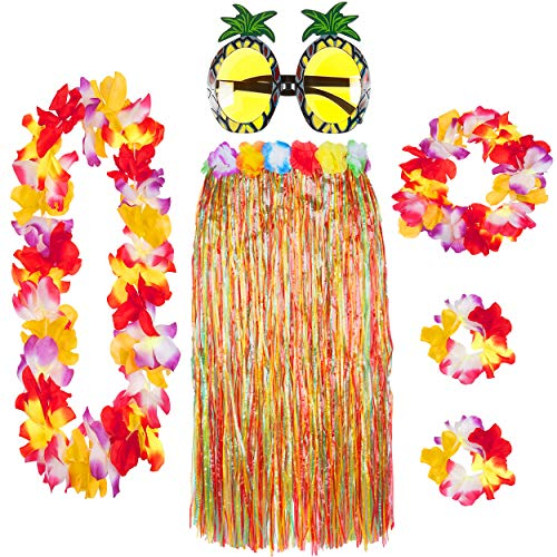 Deluxe 6 Piece Hawaiian Skirt Set with Lei Garland Pineapple Glasses Summer Hawaii Party (Multi)