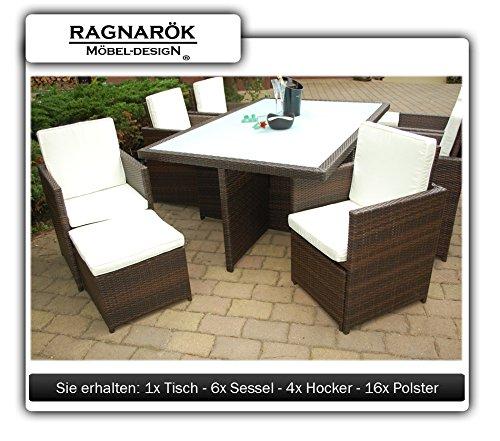 Ragnarök-Möbeldesign PolyRattan Essgruppe DEUTSCHE Marke - EIGNENE Produktion Tisch + 6 Stuhl & 4 Hocker - 8 Jahre GARANTIE - Garten Möbel incl. Glas und Sitzkissen braun Gartenmöbel - 4
