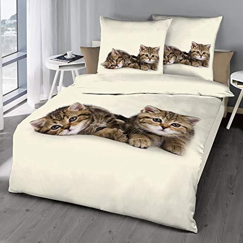 Schlummerglück Original Bettwäsche mit Zwei süßen Kätzchen, 100% Baumwolle, mit Reißverschluss, Qualität zum attraktiven Preis