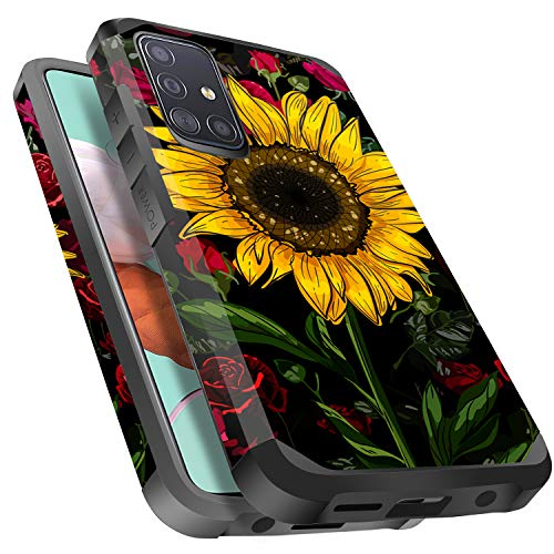 Galaxy A51 Case, Miss Arts Slim Anti-Scratch with [Drop Protection] Cute Girls Women Heavy Duty Dual Layer Protective Cover Case for Samsung Galaxy A51 -Rose Flower/Sunflower