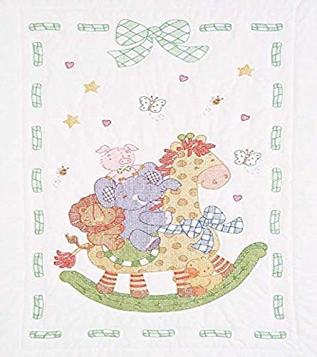 Jack Dempsey Stamped Quilt Crib Top, 40 by 60-Inch, Giraffe...