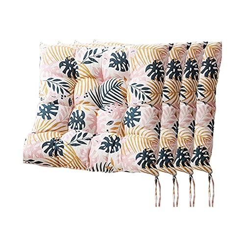 WHZG Cojin Silla Almohadillas de Asiento para sillas de Comedor, Juego de 4 Cojines para sillas de Comedor con Corbatas, Cojín de Silla de Oficina Cuadrada para Exteriores al Aire Libre 40x40cm Cojin