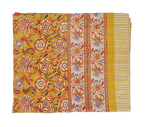 Premium Cotton Kantha Work Bed Cover, 100 % Pure Cotton Bedspread, Traditional Design Floral Printed Bed Cover, Handmade Item Imported Quality Bedcover (KB-402-F)