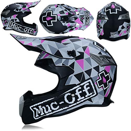 Adult Off Road Motocross Helmet Set Goggles Matte Black and Pink, Full