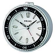 Seiko Alarm Clock, Plastic, Silver/Black, 95 mm