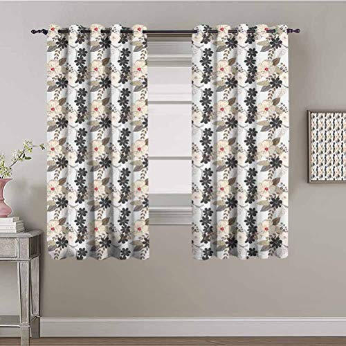 Sound Proof Curtains for Window Garden Art Nostalgic Abstract Bloom Flowers Vintage Style Bouquet with Leaves Tan Cream Charcoal Grey Insulating Blackout Drapes 96x108 Inch