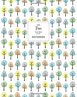 Trees Notebook - Ruled Pages - 8x10 - Large: (White Edition) Fun Notebook 192 Ruled/Lined Pages (8x10 inches / 20.3x25.4 c...