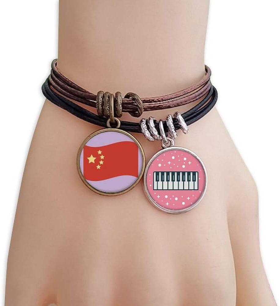 cold master DIY lab China Flag Five Stars Bracelet Rope Wristband Piano Key Music Charm