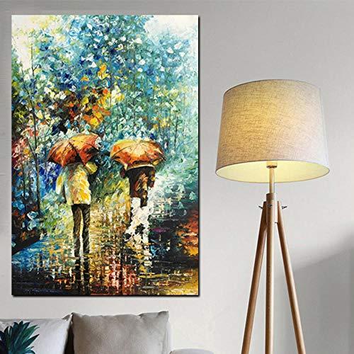 Wandkunst Dekoration Gemalt Künstlerische Vertikale Menschen mit Regenschirm Weiche Landschaft Abstraktes Ölgemälde Auf Leinwand Poster