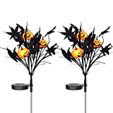 Doingart 2 Pack Solar Powered Halloween Pumpkin Garden Stake Lights - Outdoor Halloween Decorative Lights with 6 Jack-o-Lantern and Black Leaves for Garden Patio Yard Pathway Party