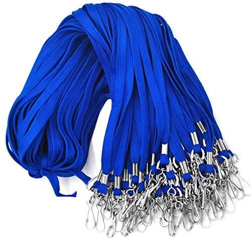 Lanyards 100 Pack Blue Lanyards with Swivel Hook Clips for ID Name Badge Holder