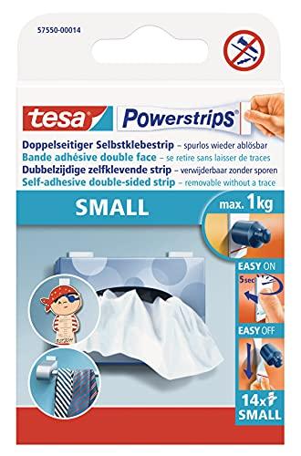 tesa Powerstrips Small - Doppelseitige Klebestreifen zur Montage von Gegenständen auf glatten Oberflächen - Bis zu 1kg Halteleistung - 14er Pack Powerstrips