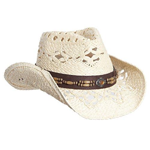 Natural Straw Cowboy Hat for Women, Faux Leather Trim, Shapeable Brim