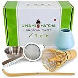 UMAMI MATCHA Tea Set | Traditional Bamboo Matcha Whisk & Scoop | Stainless Steel Sifter | Ceramic Blue Whisk Holder | Matcha Kit For Japanese Matcha Green Tea Ceremony