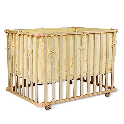 dibea BB00441, Cama de bebé (90x60 cm), Cuna móvil, con barrotes de madera, juego con edredón y almohada, color amarillo