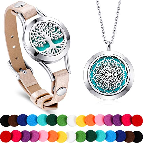 2 Pieces Essential Oil Bracelet and Necklace Aromatherapy Stainless Steel Oil Pendant Locket Necklace Bracelets with 30 Color Refill Pads and Gift Box for Girls Women Jewelry (Flower and Tree Root)