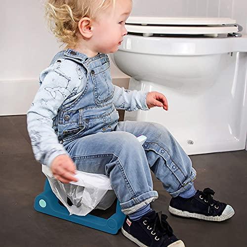 Pottiagogo Vasino Portatile da Viaggio per Bambini, Pieghevole, Innovativo, in Materiale Antibatterico, Colore Blu, Blu - 390 g