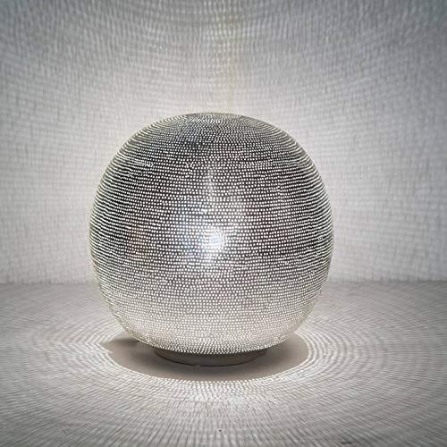 Ball FiLISKY-Lampe zum Aufstellen, Kugel, Metall, gelocht, Durchmesser 30 cm, silberfarben