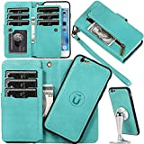 Auker Wallet Case for iPhone 6S Plus Women/Men,2 in 1 [Detachable] Magnetic Trifold 9 Card Holder Folio Flip Leather Zipper Wallet Wristlet Purse Case with Removal Hard Shell&Money Pocket/Kickstand