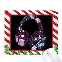 ピンク・ブルー・ヘッドセットの音楽のパターン ゴムクリスマスキャンディマウスパッド