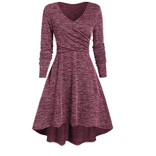 Vestido llano de las mujeres más el tamaño sólido manga larga платье Sexy V-cuello de moda de invierno tendencia asimétrico vestido casual