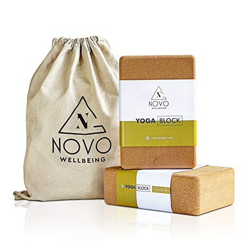 """NOVO Wellbeing Cork Yoga Block 2 Pack with Bag for Stretching and Exercise high Density yogablocks for Stability eco Friendly Natural Non Slip 9""""x6""""x3"""""""
