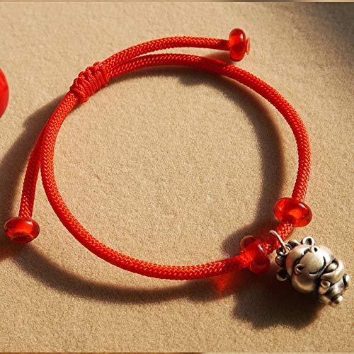 Lucky Charm Bracelet 2021 Año del OX S925 STRINLING SLIRING Cour Copa Red ROJA BRAIDADA AMULARE Ajustable para ATRAER EL Dinero SURBE Ward Off OVIN Spirits