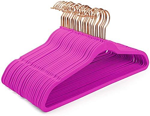 HOUSE DAY Perchas de Terciopelo Perchas de Terciopelo Antideslizantes -50 Paquete- Perchas de Traje de Terciopelo para Trabajo Pesado (Rosa)