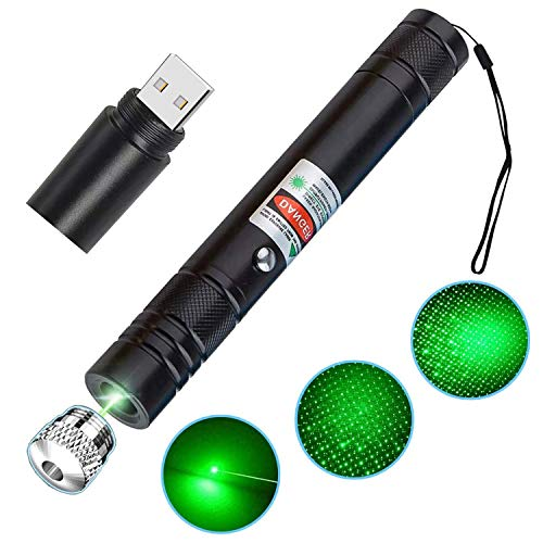 LuxLumin Long Range Green Tactical Flashlight with Star Cap, Battery Operated USB Charging Star Projector, Green Shooting Guiding Flashlight for Outdoor Work