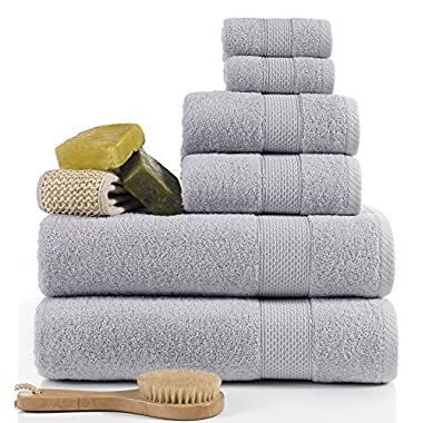 ixirhome Turkish Towel Set 6 Piece,100% Cotton, 2 Bath Towels, 2 Hand Towels and 2 Washcloths, Machine Washable, Hotel Quality, Super Soft and Highly Absorbent by (Cloud Grey)