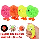 Elevin(TM)👍👍 6CM Novelty Flashing Puffer Chickens Squidgy Sensory Toy Activity and Play Ball