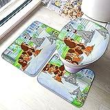 MINLE Lady and The Tramp - Juego de almohadillas antideslizantes para baño (3 piezas, alfombra antideslizante, absorción de agua, alfombrilla de contorno de tapa de inodoro)