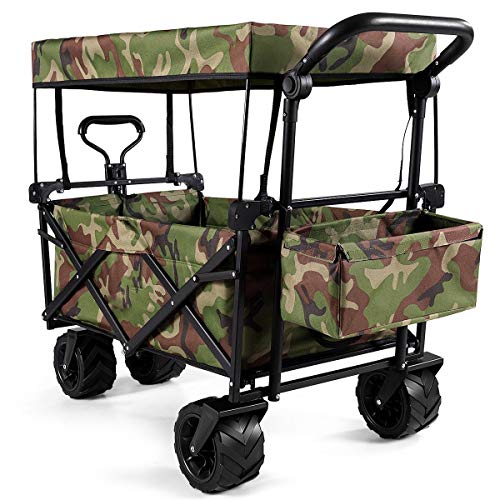 LHONE Collapsable Camping Outdoor Pulling Garden Wagon Carts Heavy Duty Folding Utility Grocery Trolley with Canopy Push Bar,4 Wheel (Camouflage)