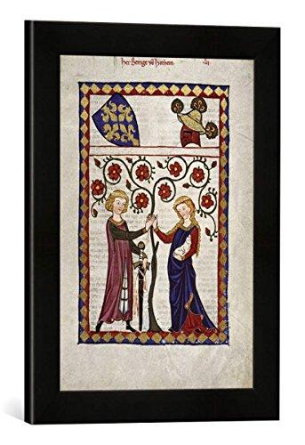 Gerahmtes Bild von Zürich Buchmalerei Codex Manesse, Herr Berenge v. Horheim, Kunstdruck im hochwertigen handgefertigten Bilder-Rahmen, 30x40 cm, Schwarz matt