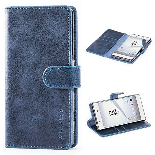 Mulbess Handyhülle für Sony Xperia Z5 Hülle Leder, Sony Xperia Z5 Handytasche, Vintage Flip Schutzhülle für Sony Xperia Z5 Hülle, Navy Blau