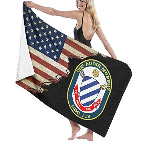 N / A Manta De Baño,Toallas De Baño,Natación Toalla Deportiva,Toalla De Playa,Toallas De Bañobe,USS Audie Murphy DDG 119 con Toalla De Playa con Bandera De EE. UU.