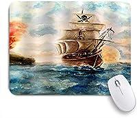PATINISAマウスパッド トレジャーアドベンチャーでの航海ヨットカリブ海賊船クルーズ ゲーミング オフィス おしゃれ 良い 滑り止めゴム底 ゲーミングなど適用 マウス 用ノートブックコンピュータマウスマット