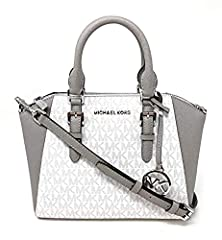 "Made of MK logo PVC and Saffiano leather Removable and adjustable crossbody strap, wear three ways, crossbody, over the shoulder or carry by hand Top zip closure Outside 1 back slip pocket, inside 1 slip pocket and 1 zip pocket 10.5""L x 7.5""H x 4""D"
