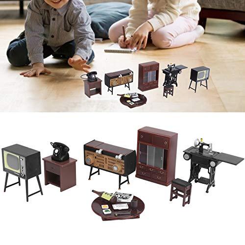 FOLOSAFENAR Mini máquina de Coser, diseño único a la Antigua Hermosos Muebles de casa de muñecas Desarrollan la Creatividad del bebé para Juguetes educativos para niñas