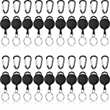 Heavy-Duty Retractable Key Chain ID Badge Holder Reel Clip with Steel Wire Rope and Metal Buckle, Retractable Keychains for Carrying Keys, Black (20 Pieces)