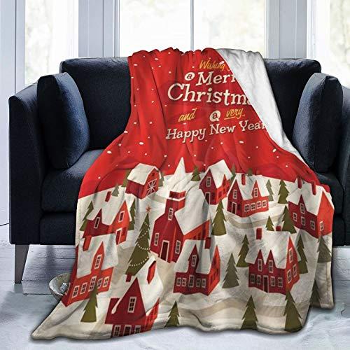 QIUTIANXIU Mantas para Sofás de Franela 150x200cm Casa de Pan de Jengibre roja con Tema de Navidad y Feliz año Nuevo con árboles Copos de Nieve Manta para Cama Extra Suave