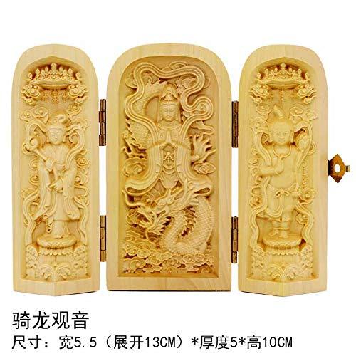 LEV Statues & Sculptures - wood carving ornaments portable three open buddha statues guanyin western sansheng decorative handicrafts 1 PCs