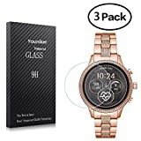 Youniker 3 Pack for Michael Kors MKT5052 Screen Protector Tempered Glass for Michael Kors Access Runway 2018 Smart Watch Screen Protector Foils Glass 9H 0.3MM Anti-Scratch Bubble Free