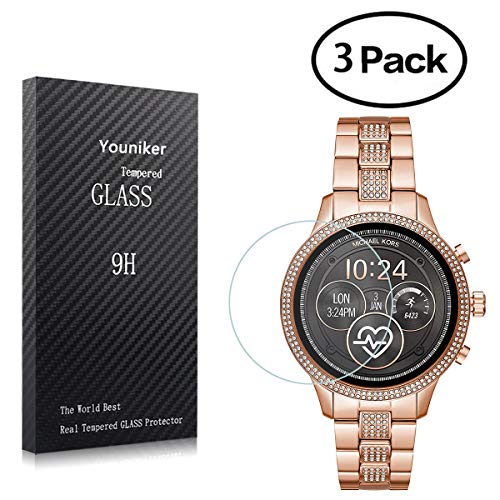 Youniker 3 Pack Voor Michael Kors Toegang Runway Screen Protector Gehard Glas Voor Michael Kors Toegang Runway 2018 Smart Horloge Screen Protector Foils Glas 9H 0.3MM Anti-Scratch Bubble Gratis