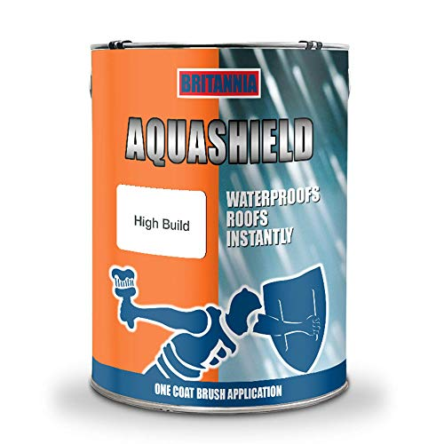 Aquashield High Build Grey Acrylic Instant Waterproof Roof Repair Coating Sealant, One Coat Emergency Leak Seal Paint for All Roof Types - 5KG with Reinforced Fibre