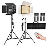 LED Video Light, SAMTIAN 600 Photography Lighting Kit 3200-5600K Camera Studio Light with 4 NP-F Batteries Barndoors 75 Inches Light Stand and Remote Photo Panel Light for Livestreaming Tiktok Youtube